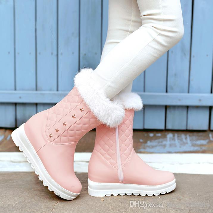 aeeb86441784 Plus Size 34-39 New Keep Warm Ankle Snow Boots Round Toe PU Soft ...