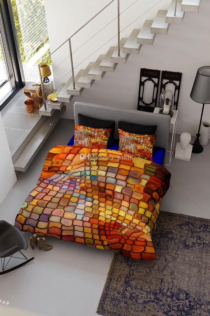 Benutzerdefinierte Zeichnungen können angepasst werden 3D schillernde bunte Plaid Baumwollsatin 4-teilig Bettbezug Sets Bettwäsche-Sets