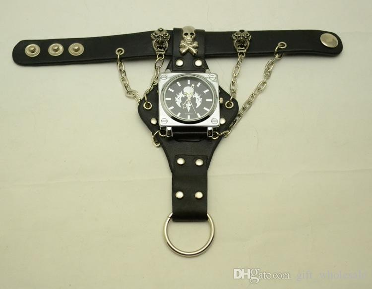 Attractive Stylish Black Punk Rock Chain Skull Watches Women Men Bracelet Cuff Gothic Wrist Watches Fashion Hot