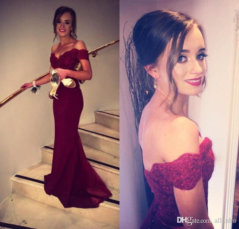 2017 Cheap Burgundy Bridesmaid Dresses Chiffon OFf Shoulder Lace Applique Floor Length Maid of Honor Dresses Wedding Party Dresses Custom