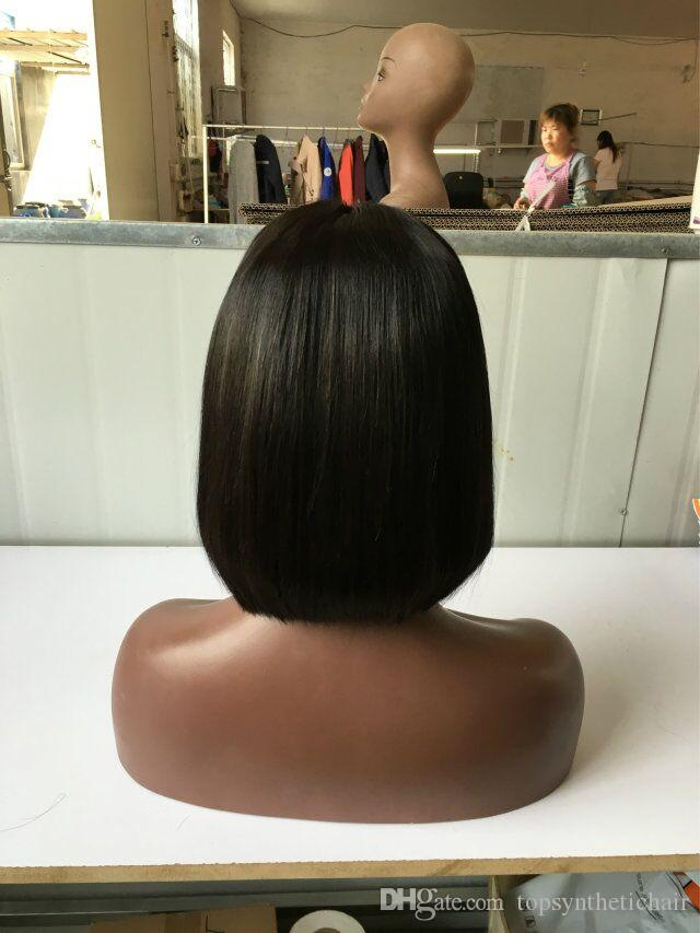 Top qualidade de cabelo Sintético perucas sintéticas da parte dianteira do laço Cor Natural Barato Peruca de Cabelo Curto Bob Perucas Sintéticas para As Mulheres Negras