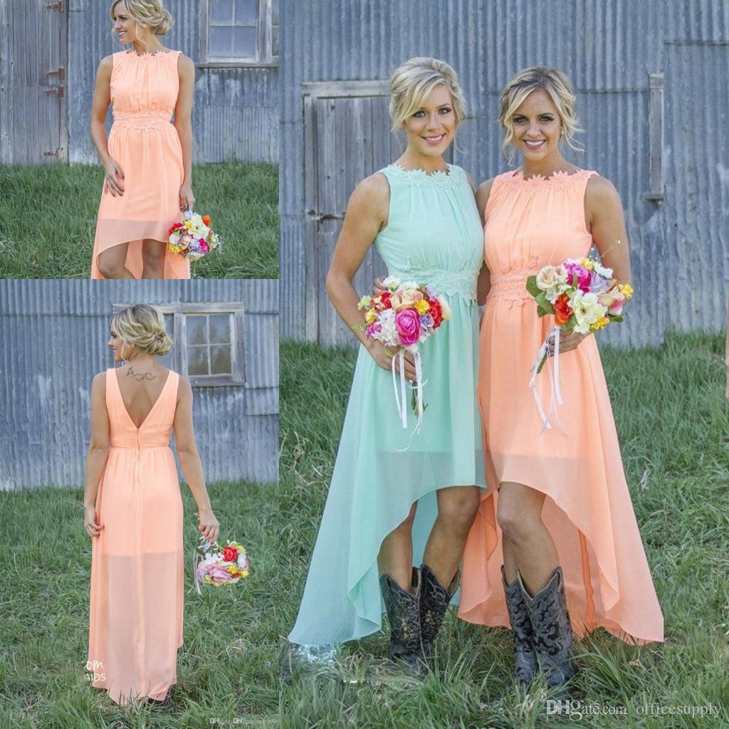 2018 Mint Chiffon Appliques Cheap Country High Low Bridesmaid ...