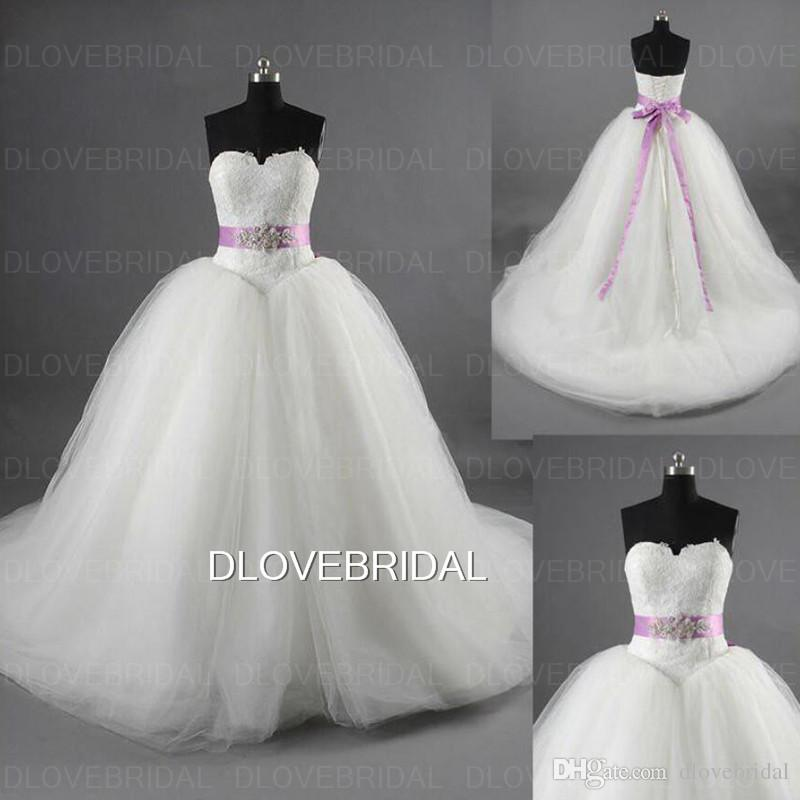 High Quality Ball Gown Lace Wedding Dress With Purple Belt Sash Strapless  Tiered Tulle Skirts Bridal Dresses Gown Turkey Vestidos De Noiva Ball Gown  Wedding ... 5fb05c001aab
