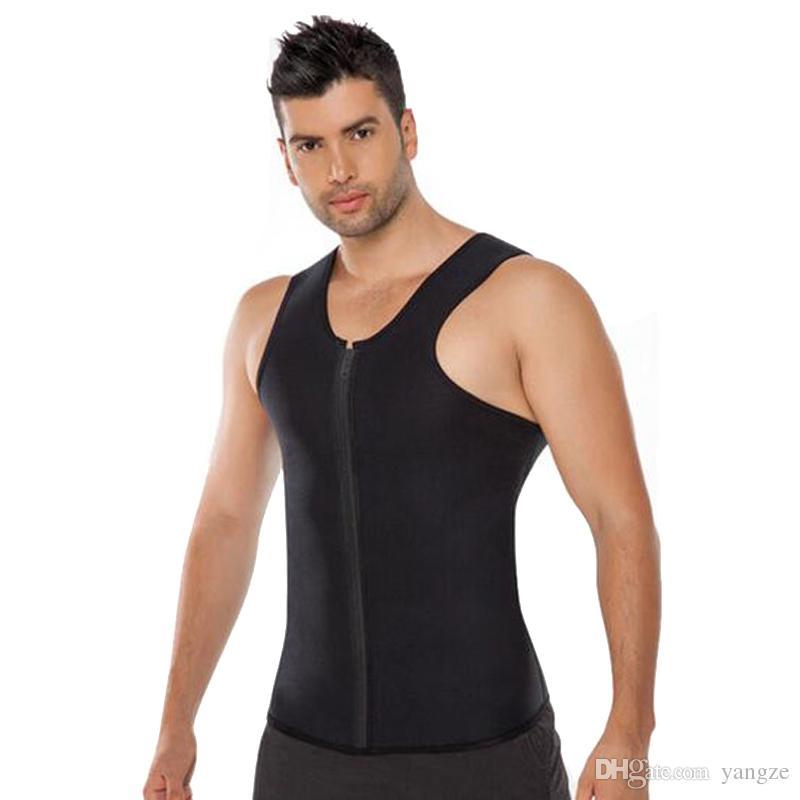 Hot Zipper Cintura Trainer Homens Ultra Sweat Neopreno Corset Slimming Vest Belt Cintura Cincher Body Shaper Corsets Mens Slimming Shapewear RF0371