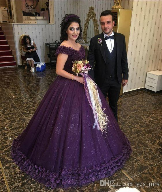 2017 Quinceanera Dresses Grape Off Shoulder Hand Made Flowers Lace Applique Beads Sequins Tulle Sweep Train Sweet 16 Party Prom Evening Gown