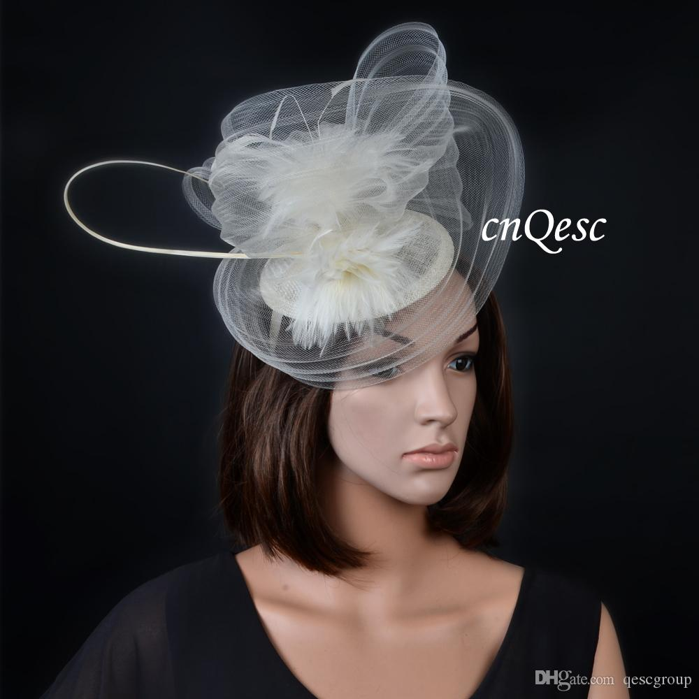 5a51ed2c NEW Ivory cream Big sinamay fascinator hat crin fascinator with Feathers  for kentucky derby and wedding