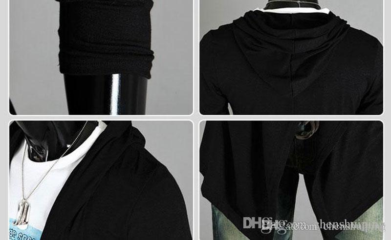 Moda Casual Slim Fit Black Gray Color Nieregularna kurtka Zimowy płaszcz Mens Windbreaker Z Kapturem Znosić