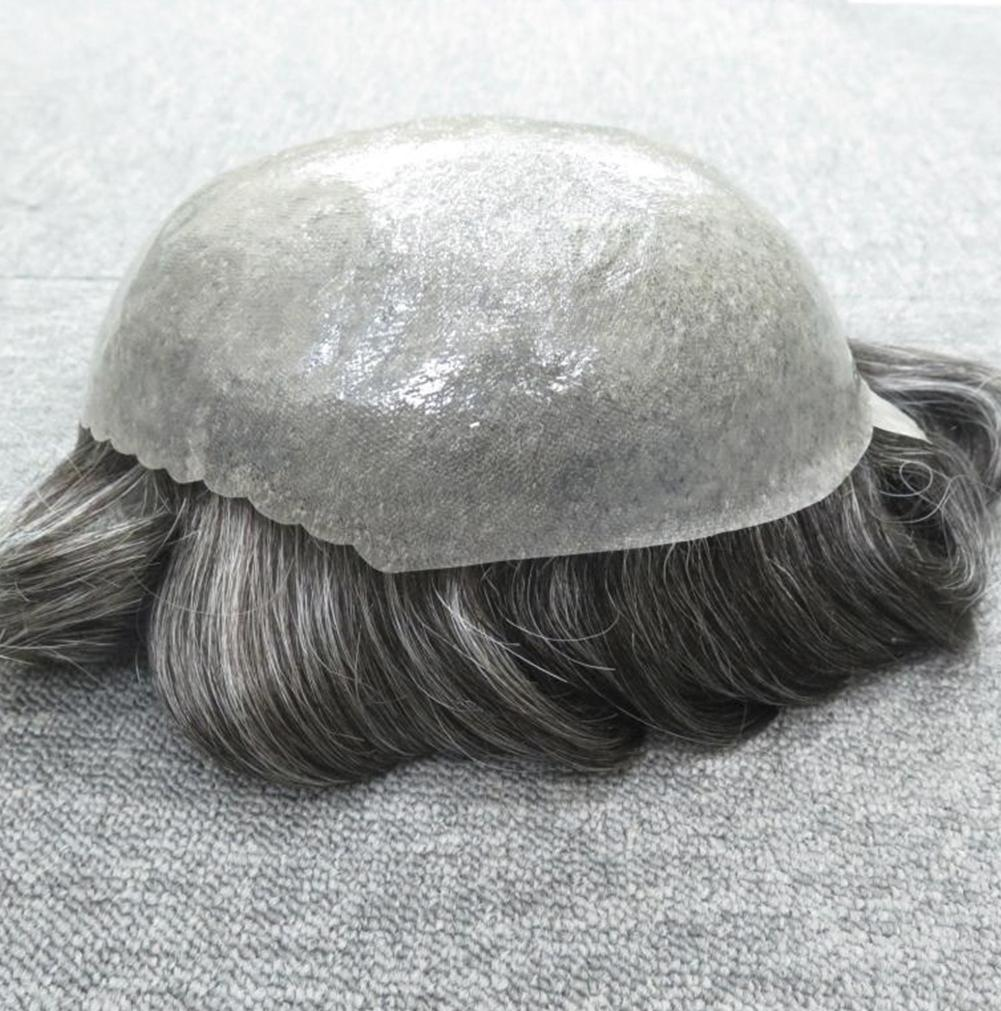 Grey Hair Men Thin Skin Toupee Natural Looking Indian Remy Hair Clear Poly Back Human Men Hair