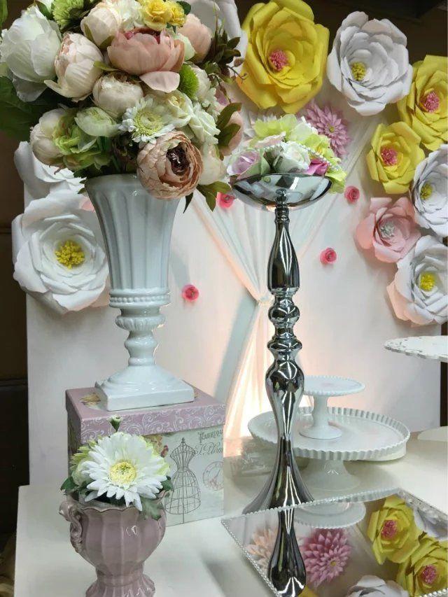 Lüks düğün zihinsel mumluk ve çiçek kase / uzun boylu centerpiece standları / uzun boylu vazo centerpieces toptan