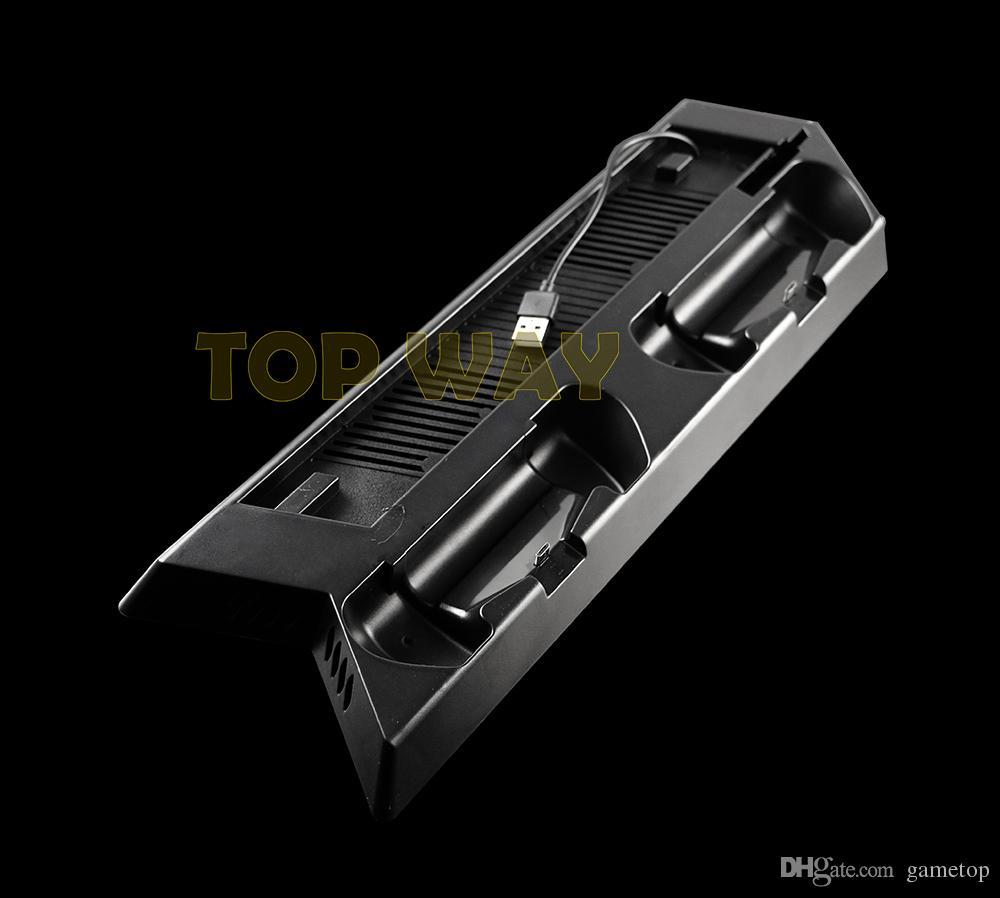 HUB USB multifuncional Puertos de cargador para PS4 Soporte vertical delgado Ventilador de enfriamiento Soporte de carga para Playstation 4 PS4 controlador delgado