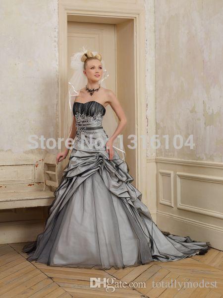 Abiti da sposa gotici vintage in bianco e nero gonfio Abito da sposa colorato in tulle a due toni con scollo a cuore lungo Abiti da sposa colorati su misura