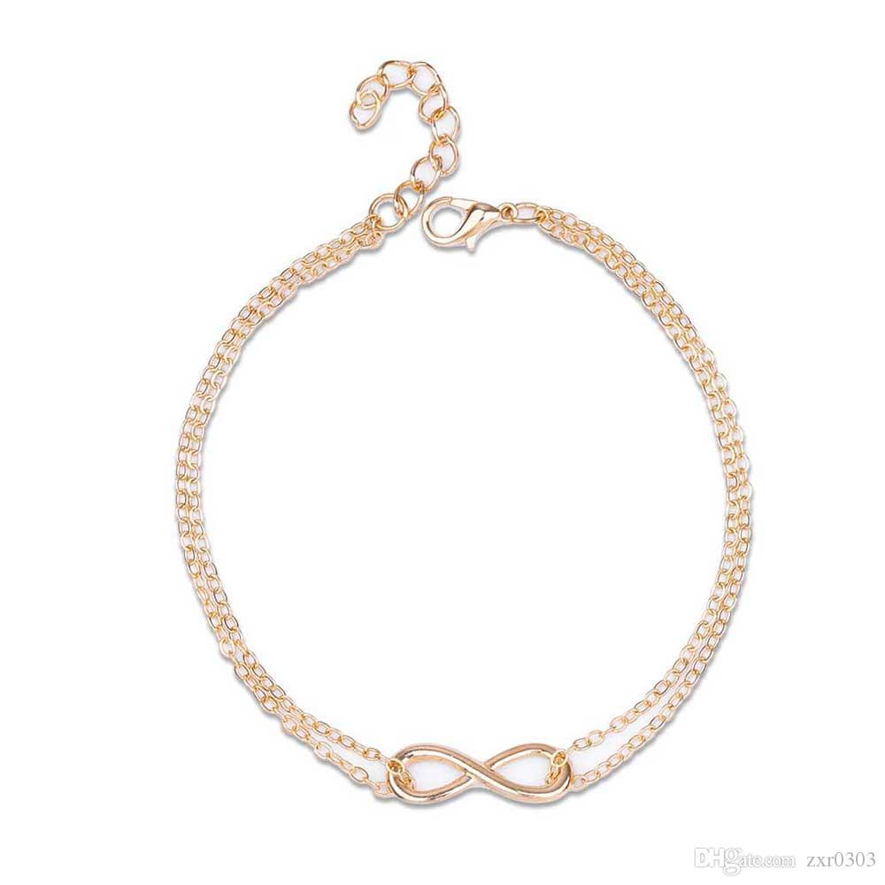 Новый Элегантный посеребренный двойной слой ножной браслет для женщин ножной браслет Браслет цепь мульти-стиль кулон ювелирные изделия для женщин подарок