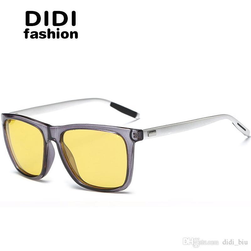 eeb8b923269 DIDI Men s Night Vision Polarized Sunglasses Women Aluminum Alloy Frame  Yellow Glasses Luxury Brand Vintage Square Driving Eyeglasses U675  Polarized ...