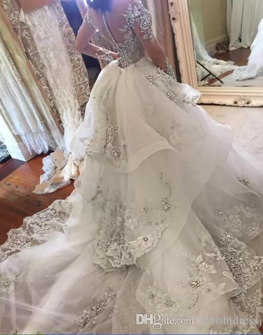 2018 Luxus Kristall Brautkleider Mit Abnehmbarem Rock Stehkragen Lange Ärmel Perlen Applique Brautkleider Gericht Zug Brautkleid