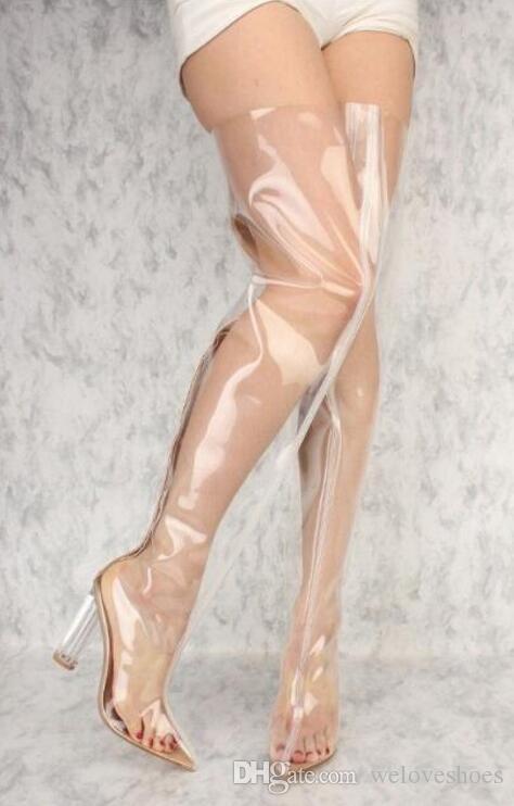 2017 nuove donne sopra il ginocchio stivali alti in PVC chiaro tacco stivaletti peep toe tacco grosso stivaletti scarpe eleganti alti sandali gladiatore stivali donna