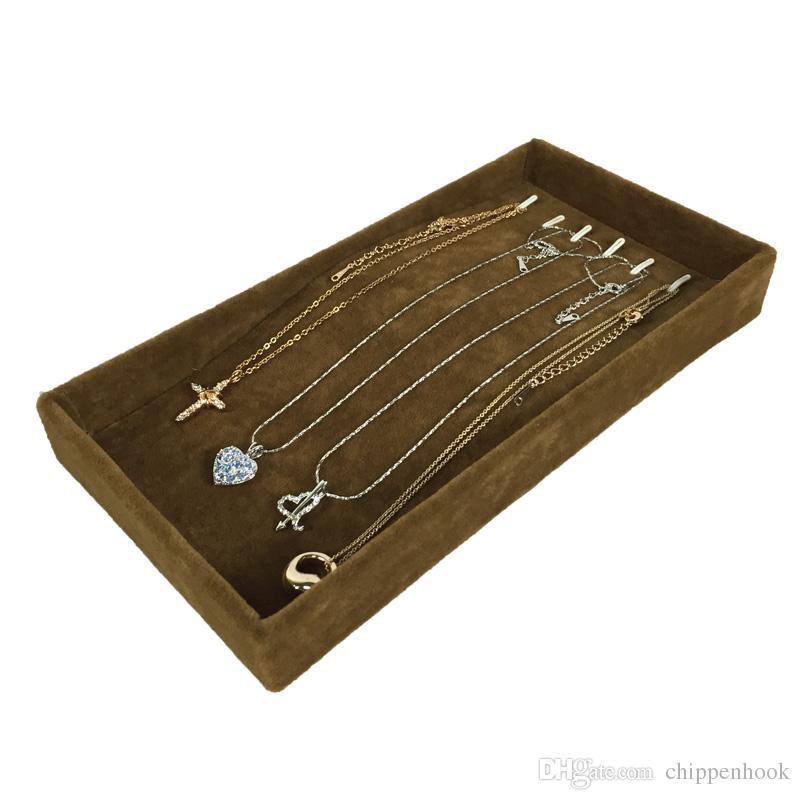 Jewelry Display Tray Metal Hook Pendant Holder Brown Velvet Chain Bracelet Anklet Necklace Display Storage Tray 11*22*3cm