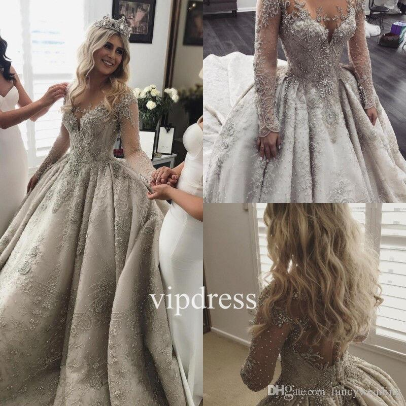 Scoop lace appliques satin luxurious crystal long sleeves ball gown scoop lace appliques satin luxurious crystal long sleeves ball gown royal grey wedding gown wedding dresses informal wedding dresses knee length wedding junglespirit Images