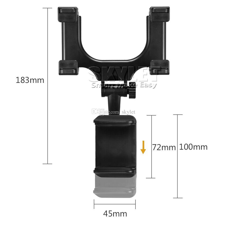 For Iphone 7 Car Mount Car Holder Universal Rearview Mirror Holder Cell Phone GPS holder Stand Cradle Auto Truck Mirror With Retail Package