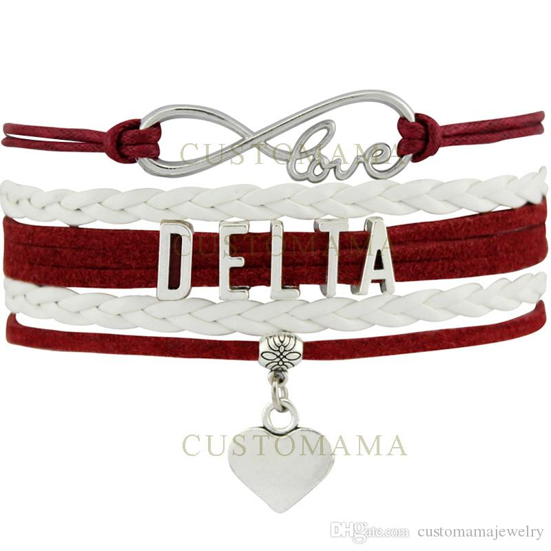 Custom-Infinity Love Delta Heart Charm Women's Wrap Bracelets Best Gift Maroon White Suede Leather Custom any Themes