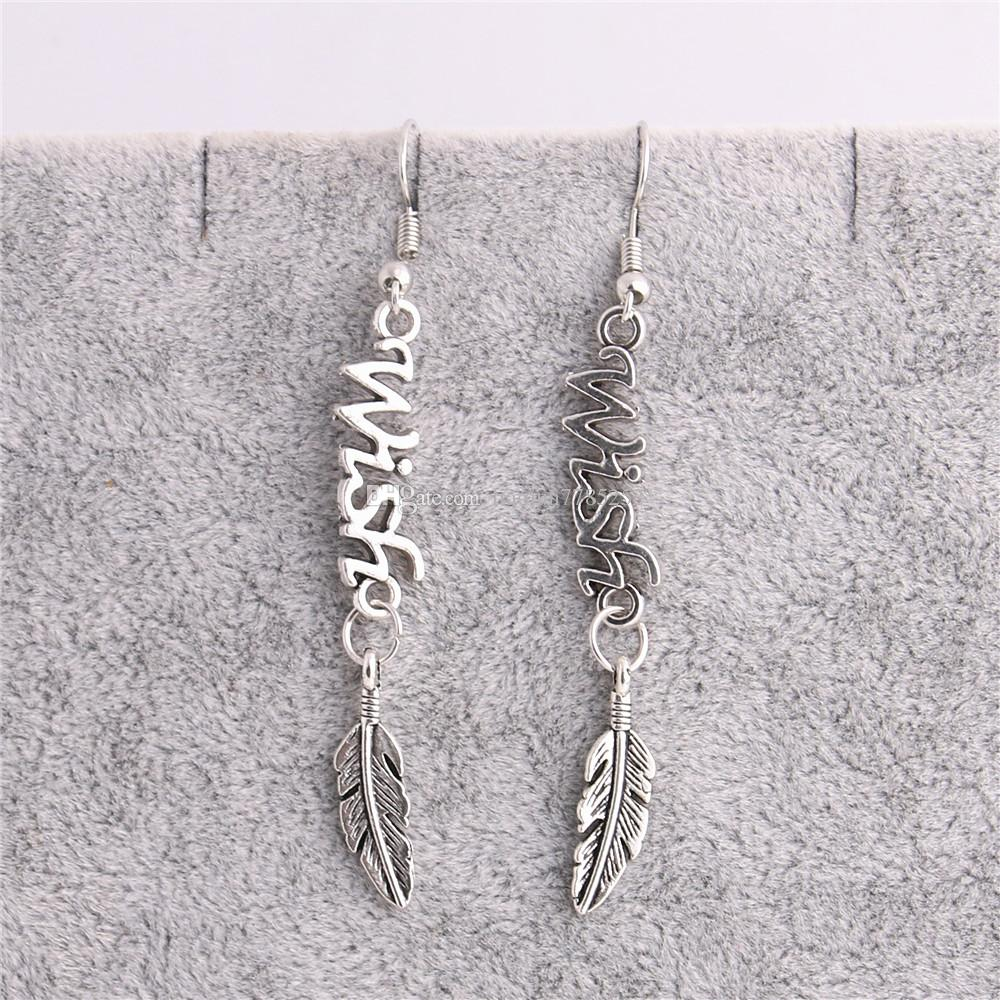 Metal Alloy Zinc Letter Wish Connector Feather Pendant Leaf Charm Earing Pendant Diy Jewelry Making C0660