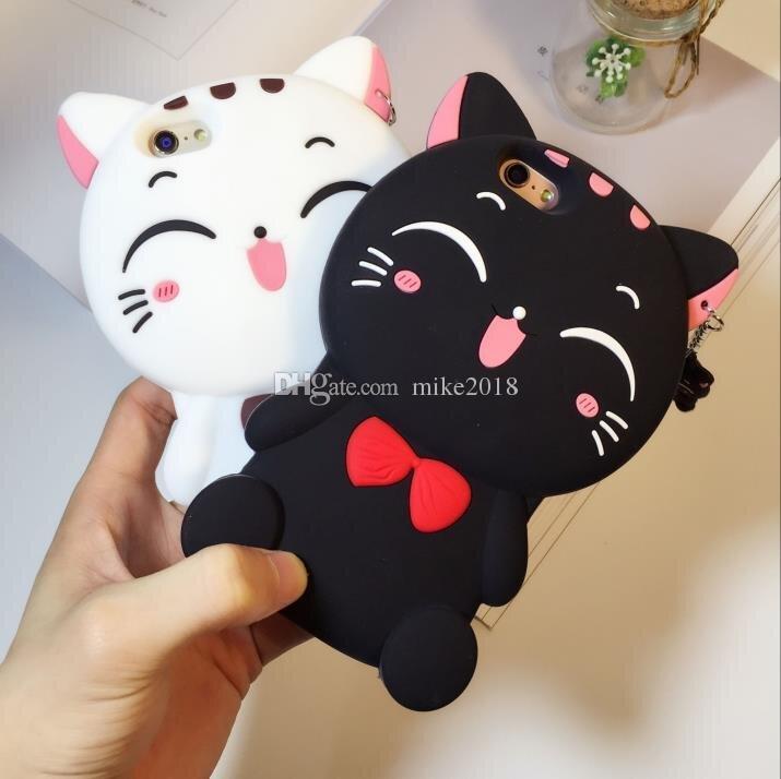 Lindo silicio 3D Cat Bow Case para iphoneX 8 8plus Funda para iphone 5 SE 6 6S Plus 7 7plus Animal de dibujos animados encantador de goma cajas del teléfono contraportada