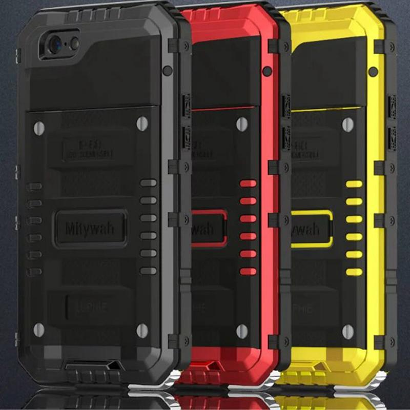 wholesale dealer a3f4b 483eb Luphie Under Water Sealed Life Waterproof Metal Case For Iphone 6 6s 7 Plus  Aluminum Silicone Shockproof Cover Tempered Glass