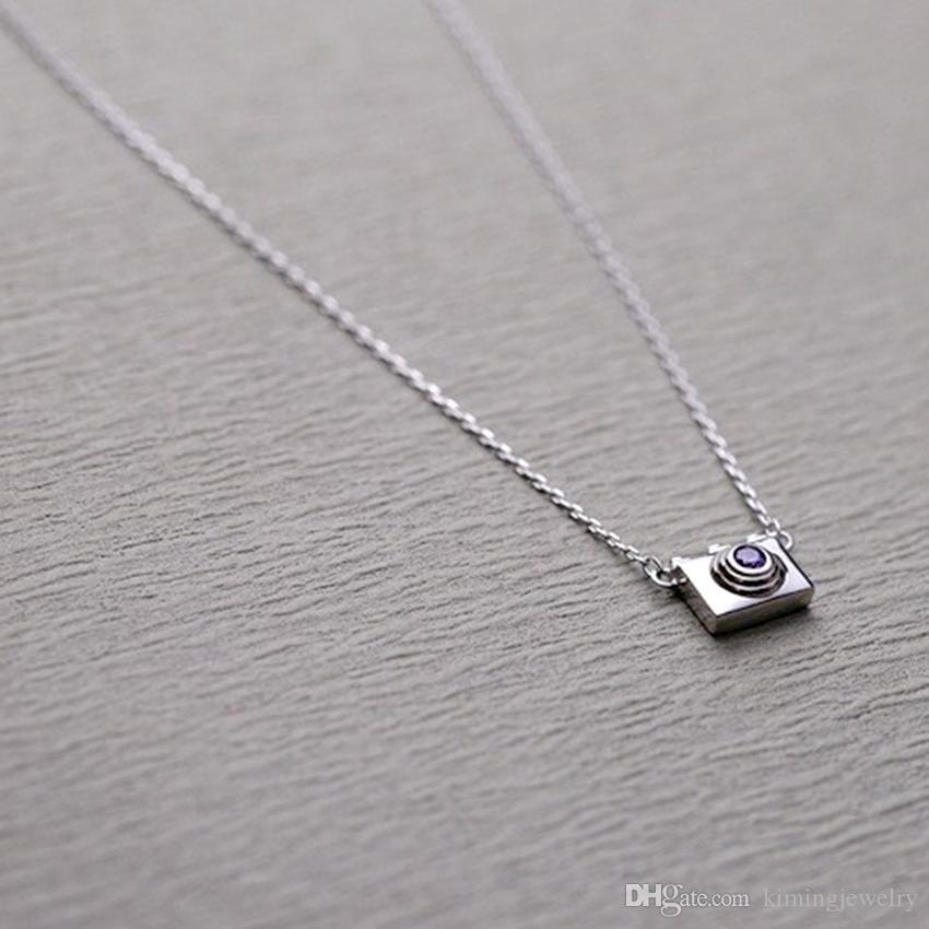 925 Sterling Silver Statement Necklaces Mini Camera Shape Pendants&Necklaces Women Trendy Jewelry collier en argent
