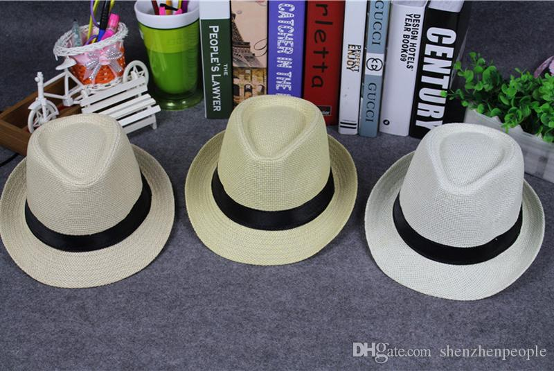 Fashion Hats for Women Fedora Trilby Gangster Cap Summer Beach Sun Straw Panama Hat with Ribbow Band Sunhat