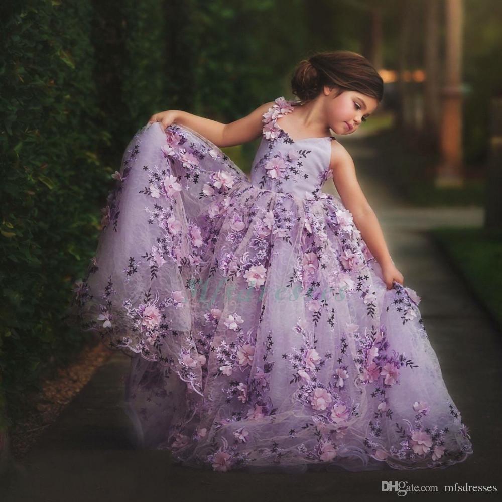 Acquista 2017 Vendita Calda Pretty Girls Prom Dresses Ball Gown Fiori Viola  In Pizzo Flower Girl Abiti Bambini Abito Da Sera Orange Girls Pageant Dress  A ... 45e15741757