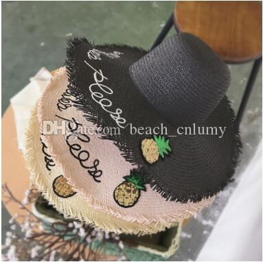 60bb378d6bd Fashion Wide Brim Summer Beach Sun Hats Women Letter Sequins Pineapple  Embroidery Straw Hats Caps Seaside Holiday Sunscreen Big Foldable Hat  Cloche Hat Cool ...