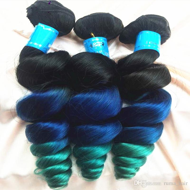 Brazilian Virgin 9A #1B Blue Green Human Hair Weft Dark Root Loose Wave Hair Extension Ombre Color 1B Blue Green Hair 3 Bundles