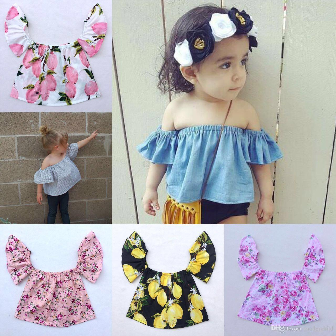 a0573493ec4999 2019 Girl Off Shoulder Tops Summer Baby Floral Sunflower Shirts + Flower  Headbands Girls Boutique Clothing Sets Little Girl Clothes Tank Top From  Moderchild ...