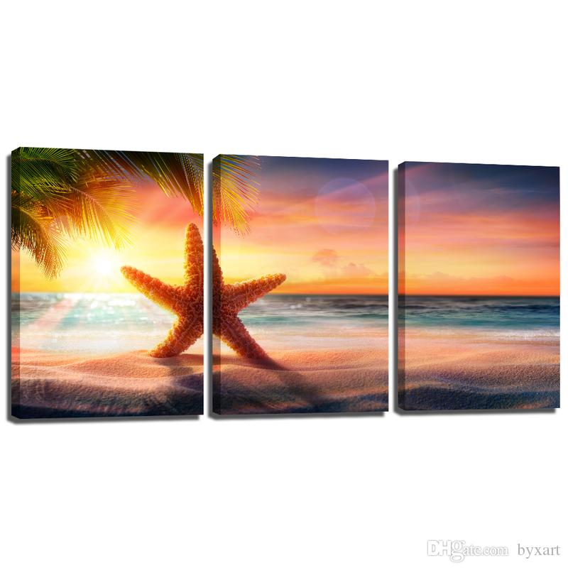 2018 Canvas Wall Art Sunset Sea Star Canvas Painting Seascape Wall ...