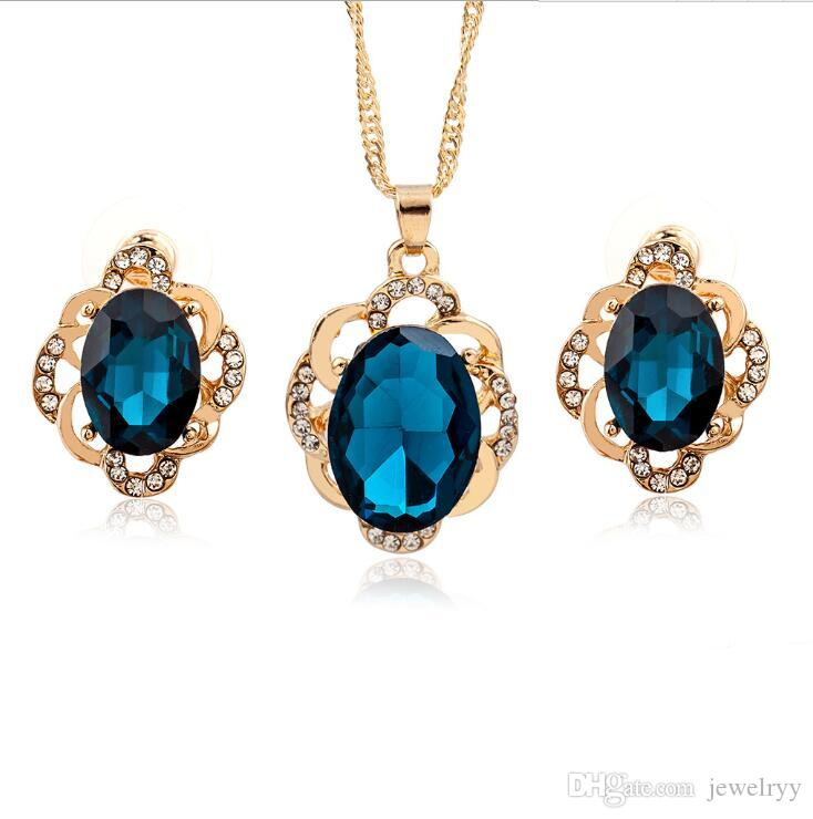 Bridal Wedding Jewelry Crystal Stud Earrings Necklaces Set Women Girls Crystal Rhinestone Pendant Necklace Earring Jewelry Sets for Party