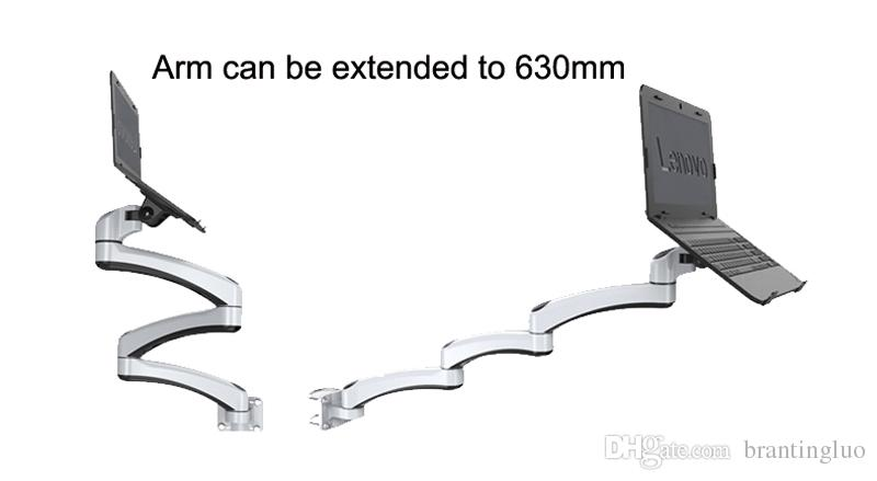 Ultra Long Arm Aluminum Alloy Full Motion Wall Mount Laptop Cooling Laptop Holder Bed Pole Mount Laptop Stand Arm Monitor Holder
