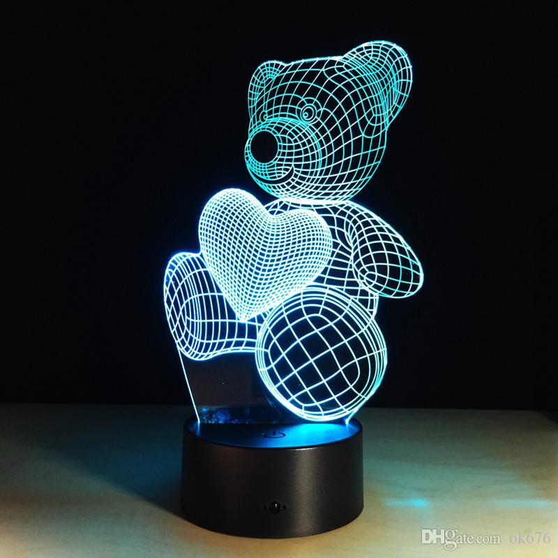 2017 urso de pelúcia amor coração 3D Optical Night Light 9 LED Night Light DC 5 V Atacado Fábrica
