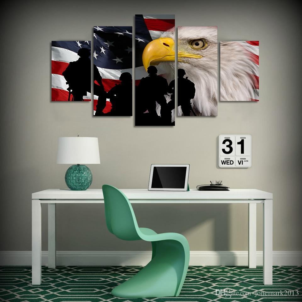 Framed HD Printed Rustic USA Flag Eagle Picture Wall Art Canvas Print Poster Artwork Modern Canvas Oil Painting
