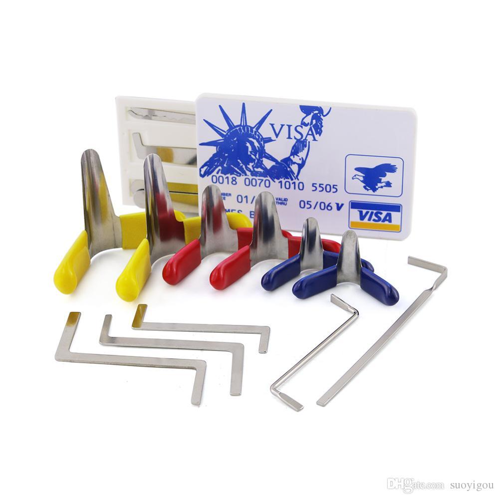 New Value Set Unlocking Pick Tool Padlock Shim + Locksmith Tension Wrenches + Credit Card Lock Picks Set