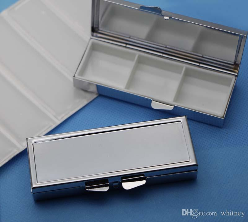 3 day pill box case- 3 sections-Retro Rectangle Pill container-Metal pill case with Epoxy Sticker For DIY