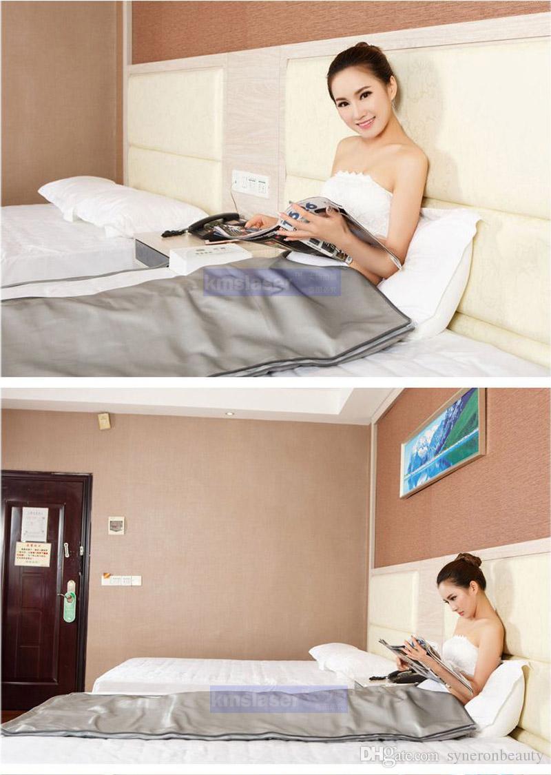Tragbare Fern Infrarot Sauna Professotherapie Ganzkörper Gewichtsverlust Body Wrap Thermal Abnehmen Abendmahlklasse Neigungsdecke