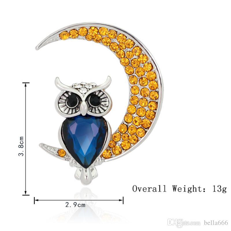 New Arrival Moon Owl Brooches Wedding Bouquet Wedding Hijab Garment Bag Hats Pins Up Buckle Femininos Brooch Game Bijoux