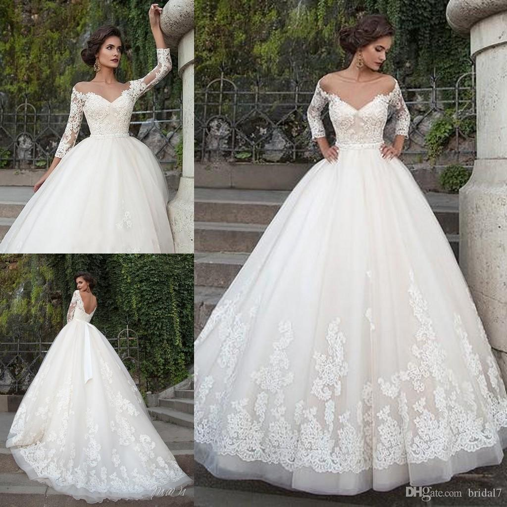 2017 Ivory Elegant Wedding Dresses With Appliques Sheer