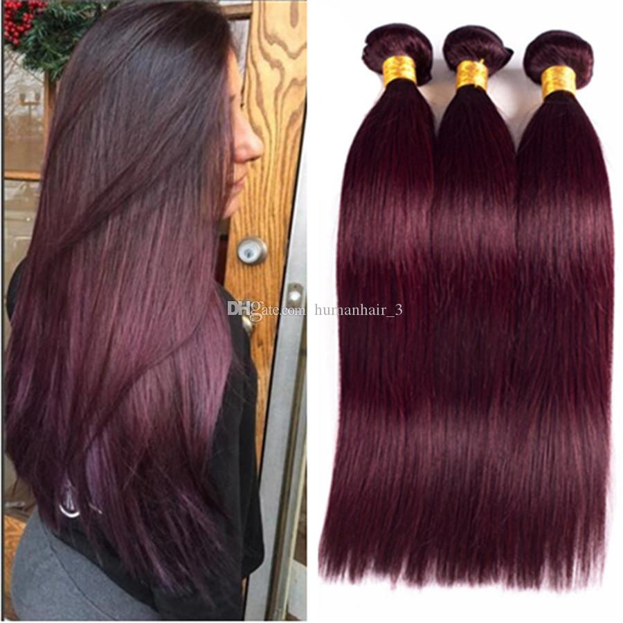 99j Human Hair Wft 3 Bundles Brazilian Virgin Hair Weave 99j Burgundy Straight Hair Extensions Wine Red Bundles