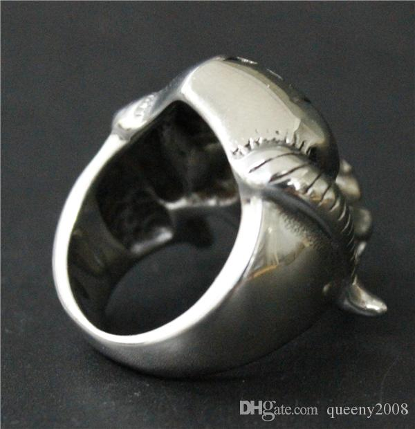 Size 7-13 Cool Silver Goat Skull Ring 316L Stainless Steel Man Heavy Bull Head Skull Ring