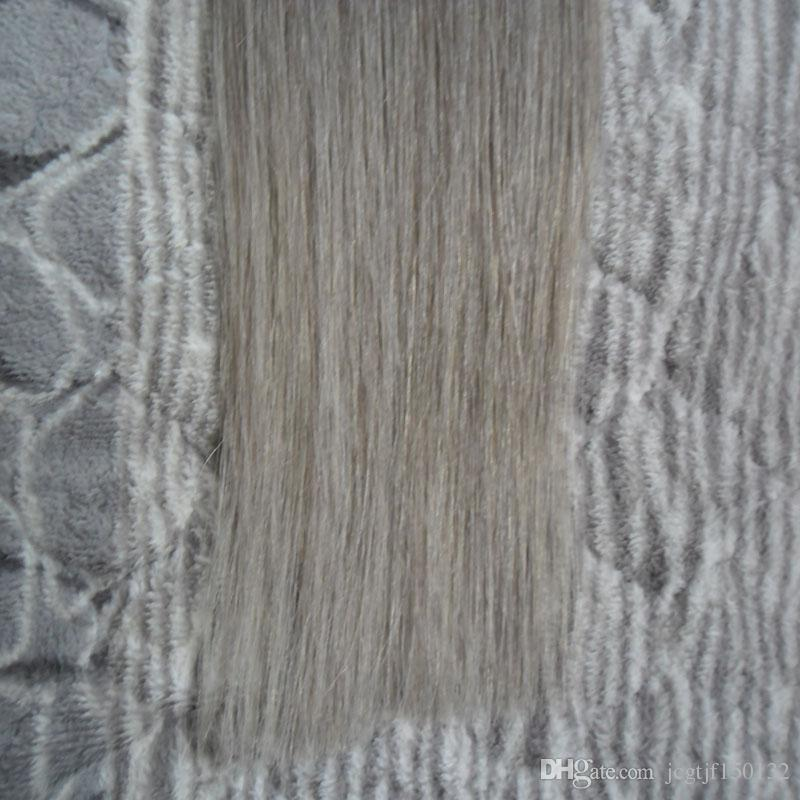 Virgem brasileira extensões de cabelo em linha reta cinza prata 40 peças de fita em extensões de cabelo humano 100g remy fita em extensões do cabelo