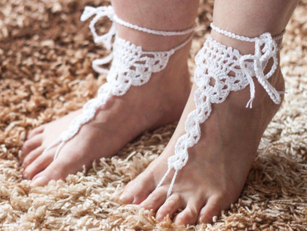Compre 1 Par O Crochet Sandalias Descalzas Blancas, Joyas Para El ...