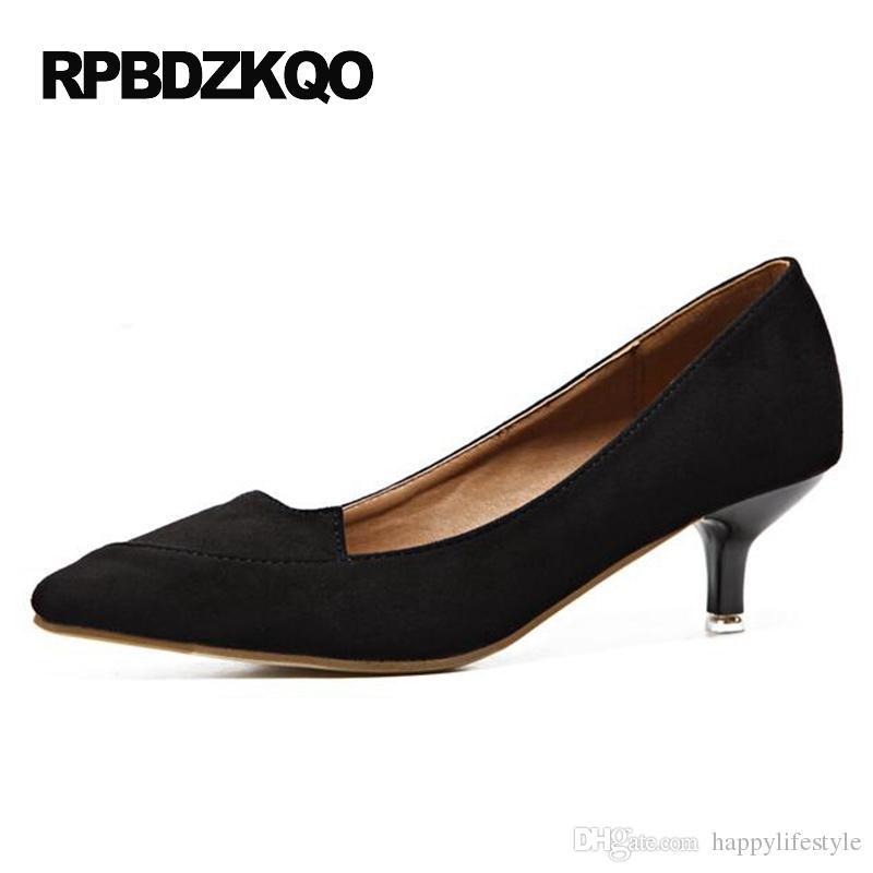 Kitten Pumps Medium High Heels 2017 Suede Modern Formal Elegant ...