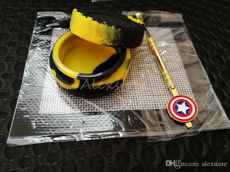 Silicone Wax Set with square sheets pads mat 23ml tyre tire silicon container Captain America dabber tool for dry herb jars dab DHL