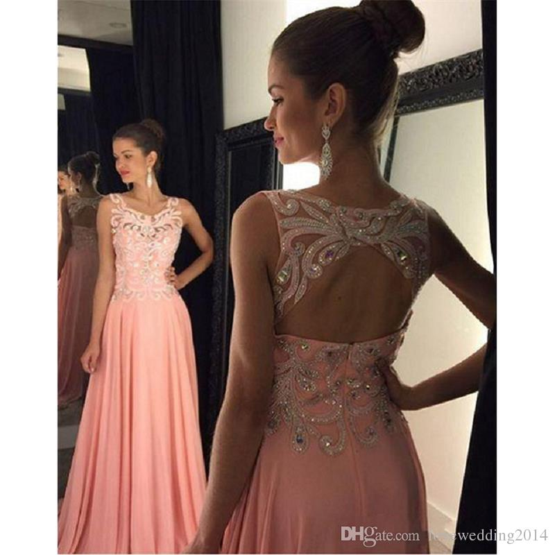 Le Femme Beaded Coral Evening Dress