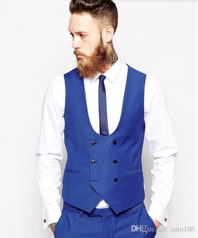 Custom Made erkekler takımları Kraliyet Mavi erkekler Klasik Damat Smokin Blazer Erkekler Balo Tux Damat Ceket + Pantolon + Yelek